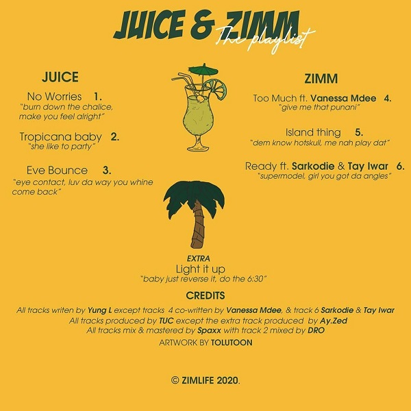 Yung L Juice and Zimm tracklist