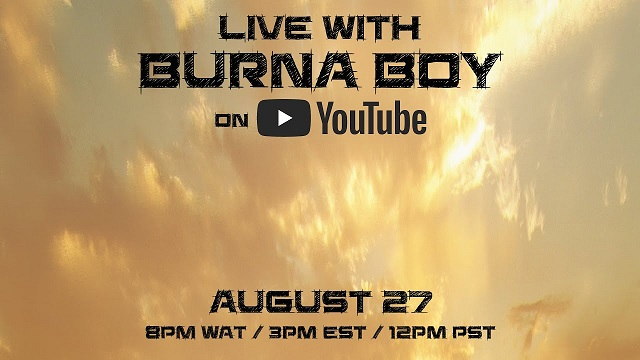 Livestream With Burna To Celebrate 'twice As Tall'