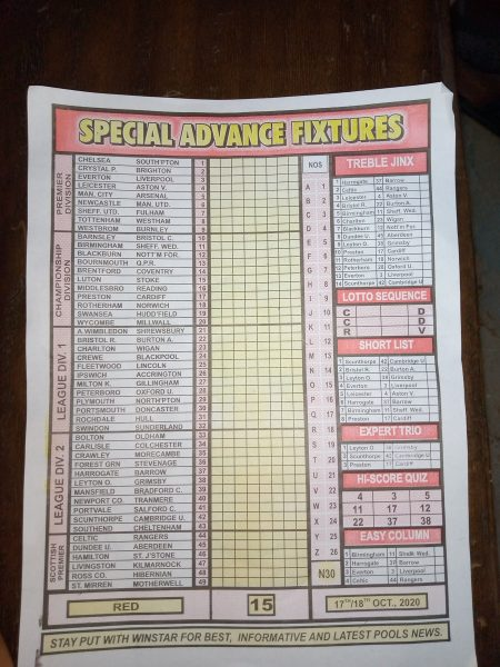 Week 15 Special Advance Fixtures 2020 Page 1