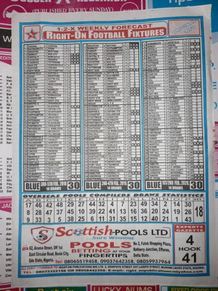 week 30 right on fixtures 2021 back page