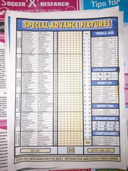 week 30 special advance fixtures 2021