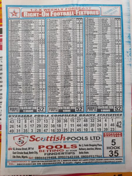 week 52 right on fixtures 2021 back page